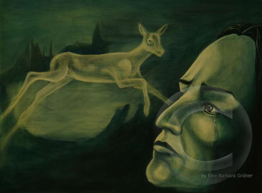 Snapes Patronus (Snape And His Doe)  Öl auf Leinwand (oil on canvas), 30x40cm, 2007