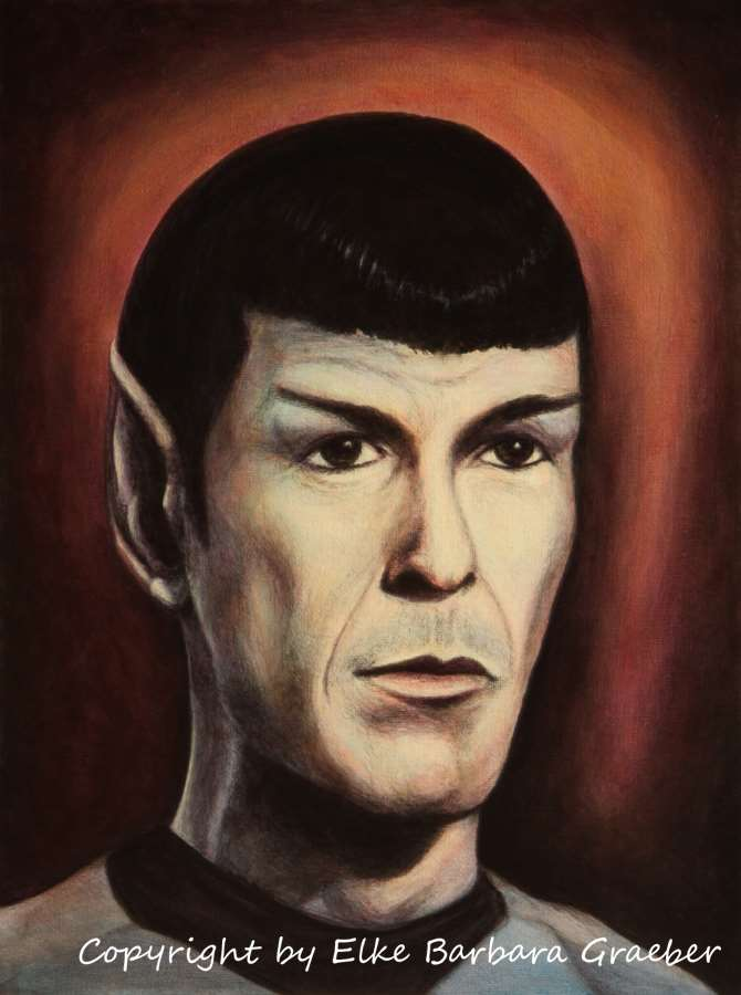 Leonard Nimoy as Spock  Acryl auf Leinwandplatte (acrylics on canvas panel), 30x40cm, 2010